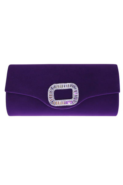 Purple Velvet Envelope Clutch Bag with Diamante Embellishment - LadyVB   s.r.o