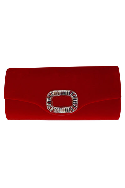 Red Velvet Envelope Clutch Bag with Diamante Embellishment - LadyVB   s.r.o