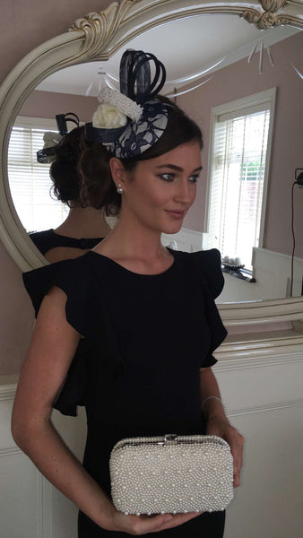 Bespoke Navy and Cream Fascinator - LadyVB   s.r.o - 2
