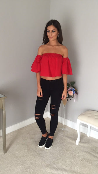 Pixie Red Cropped Top - LadyVB   s.r.o - 2