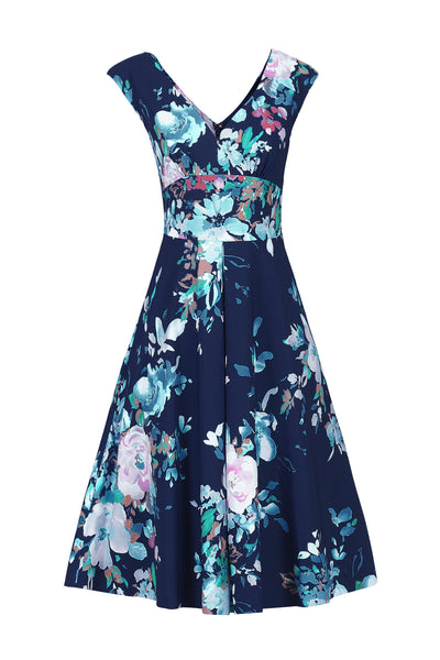 Kelly Navy Floral V Neck Dress - LadyVB   s.r.o - 2