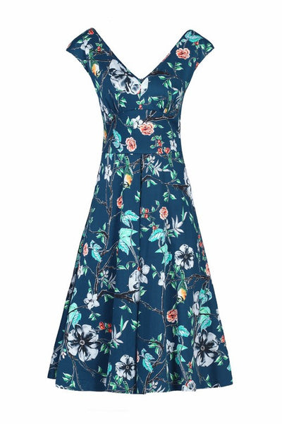 Kelly Teal Floral V Neck Dress - LadyVB   s.r.o - 2