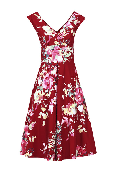 Kelly Red Floral V Neck Dress - LadyVB   s.r.o - 3