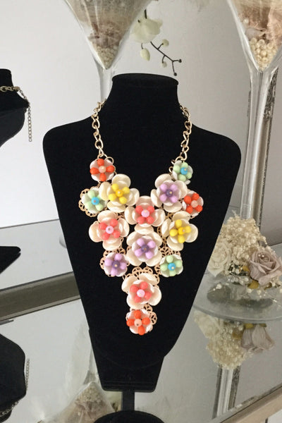 Multi Coloured Floral Necklace - LadyVB   s.r.o