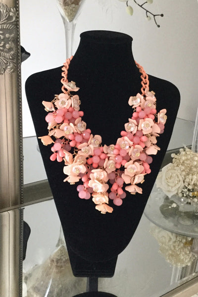 Paris Pink Floral Necklace - LadyVB   s.r.o