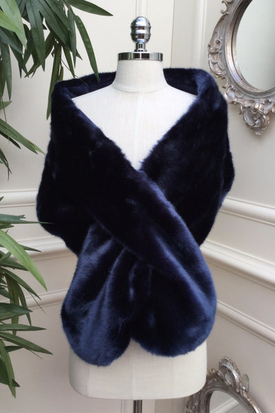 Holly Navy Blue Fur Stole - LadyVB   s.r.o - 3
