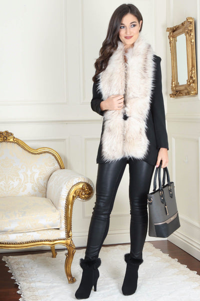 Jo Beige Long Fur Collar - LadyVB   s.r.o - 1