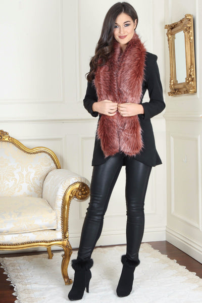 Nora Powder Pink and Black Long Fur stole - LadyVB   s.r.o - 1