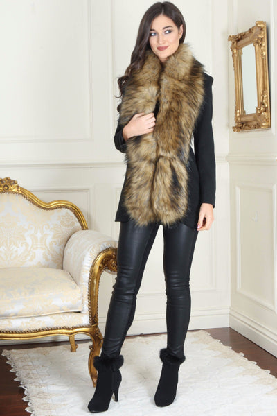 Nora Camel and Black Long Fur Collar - LadyVB   s.r.o - 1