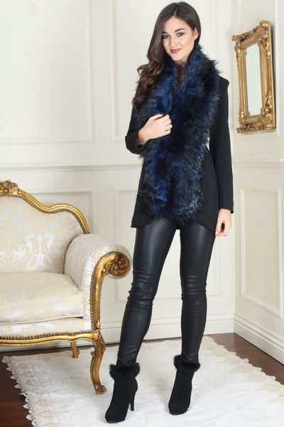 Nora Navy and Black Long Fur stole - LadyVB   s.r.o - 1