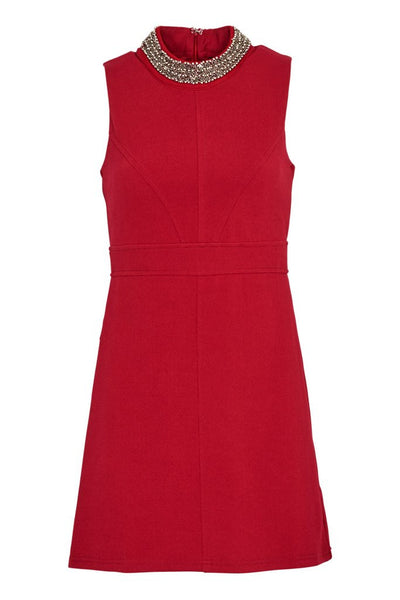 Lorna Burgendy Beaded Neckline Shift Dress - LadyVB   s.r.o - 2