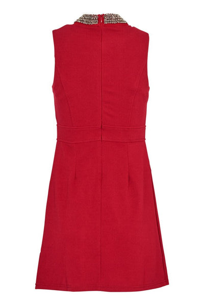 Lorna Burgendy Beaded Neckline Shift Dress - LadyVB   s.r.o - 3
