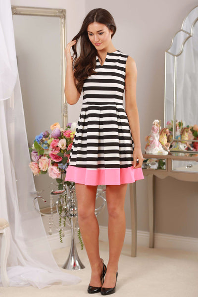 Striped Dress Neon Trim - LadyVB   s.r.o - 1
