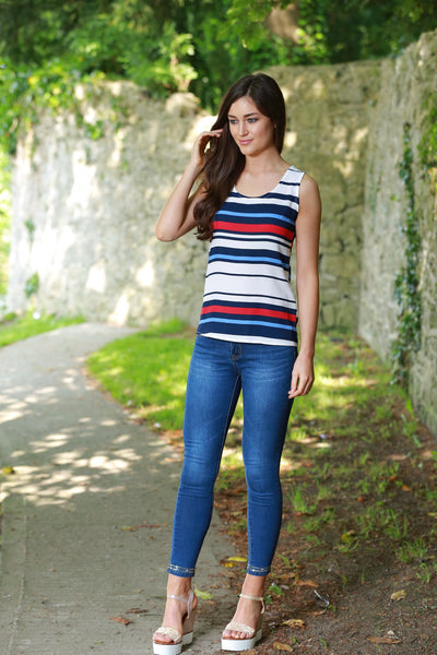 Ornella White Blue Navy and Red Striped Top - LadyVB   s.r.o - 3