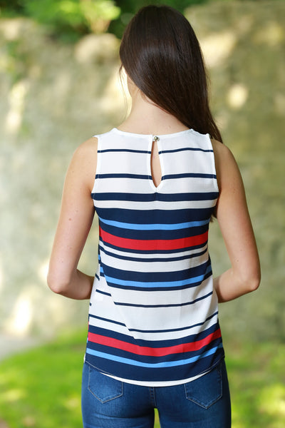 Ornella White Blue Navy and Red Striped Top - LadyVB   s.r.o - 2