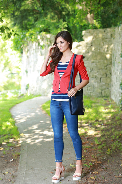 Ornella White Blue Navy and Red Striped Top - LadyVB   s.r.o - 4