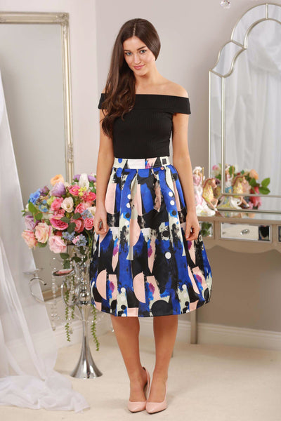 Blue Abstract Print Skirt - LadyVB   s.r.o - 1