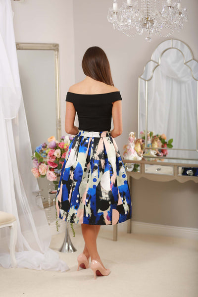 Blue Abstract Print Skirt - LadyVB   s.r.o - 2