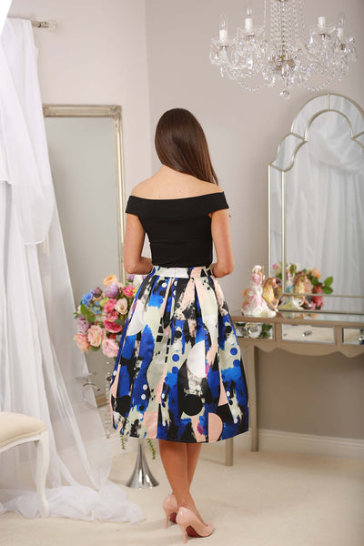 Blue Abstract Print Skirt - LadyVB   s.r.o - 3
