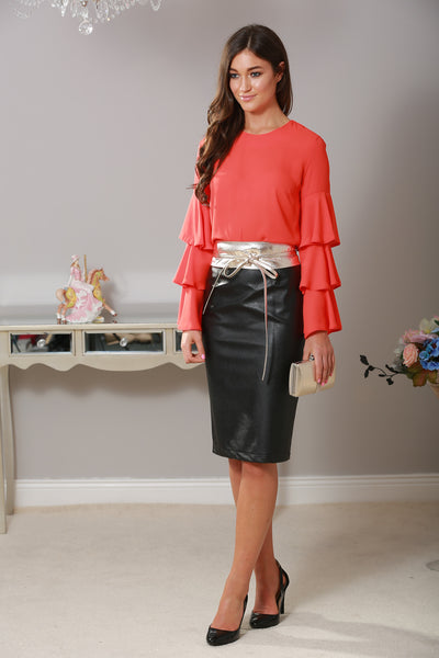 Emily Coral Bell Sleeve Top - LadyVB   s.r.o - 1