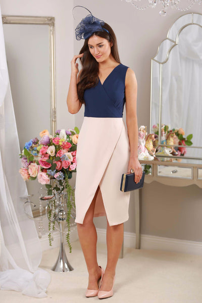 Verona Navy and Nude V Neck dress - LadyVB   s.r.o - 1