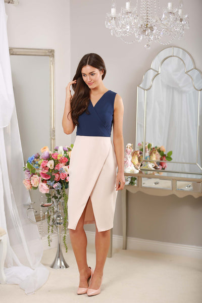 Verona Navy and Nude V Neck dress - LadyVB   s.r.o - 3
