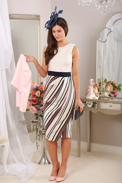 Cream Stripe Frankie Dress - LadyVB   s.r.o - 1