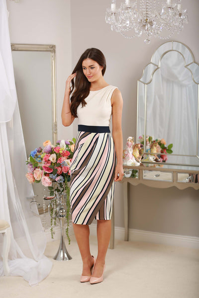 Cream Stripe Frankie Dress - LadyVB   s.r.o - 2