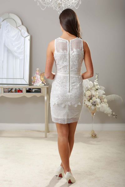 Zelda White Fitted Lace dress - LadyVB   s.r.o - 2