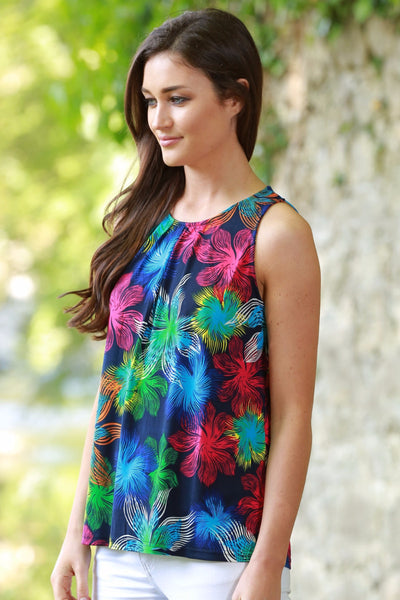 Jane Navy and Floral Blouse top - LadyVB   s.r.o - 1