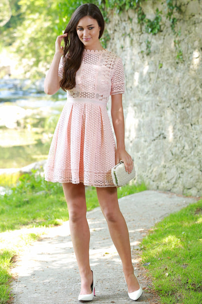 Renna Blush Lace Swing Dress - LadyVB   s.r.o - 1