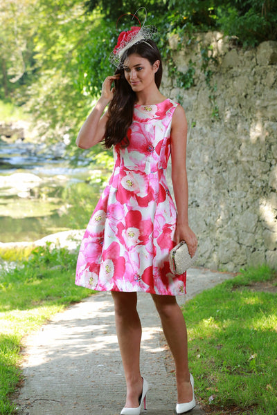 Kay Pink Floral Fit and Flare Dress - LadyVB   s.r.o - 1