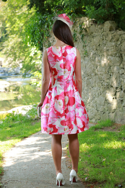 Kay Pink Floral Fit and Flare Dress - LadyVB   s.r.o - 2