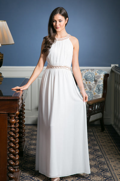 White Grecian Maxi Dress with embellished waist detailing - LadyVB   s.r.o - 1