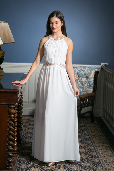 White Grecian Maxi Dress with embellished waist detailing - LadyVB   s.r.o - 2