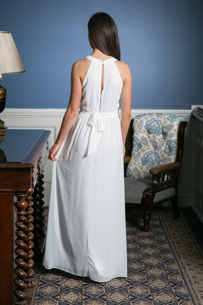 White Grecian Maxi Dress with embellished waist detailing - LadyVB   s.r.o - 3