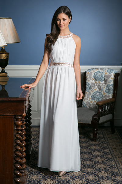 White Grecian Maxi Dress with embellished waist detailing - LadyVB   s.r.o - 4