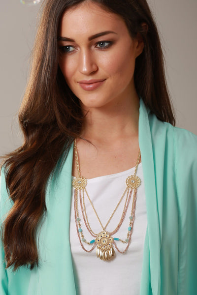 Laurie Layered Mint Bead Necklace - LadyVB   s.r.o