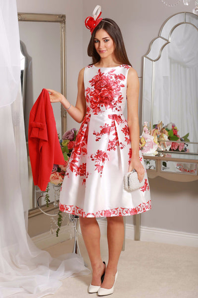 Red Floral Swing Dress - LadyVB   s.r.o - 1