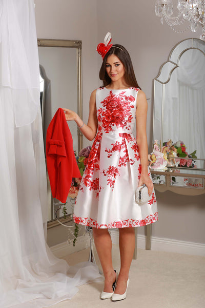 Red Floral Swing Dress - LadyVB   s.r.o - 2