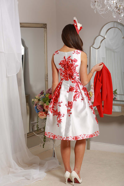 Red Floral Swing Dress - LadyVB   s.r.o - 3