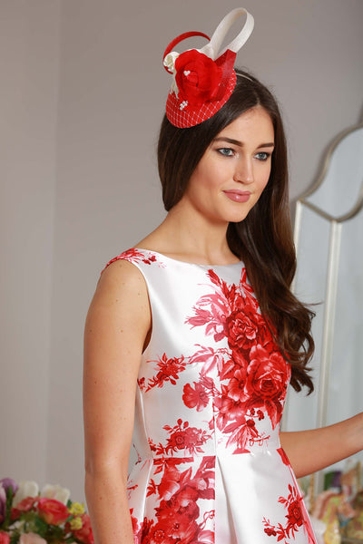 Red Floral Swing Dress - LadyVB   s.r.o - 4