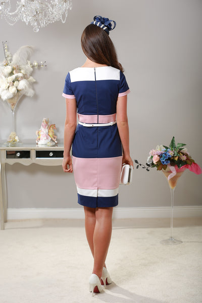 Aubrey Blush Navy & Cream Panel Dress - LadyVB   s.r.o - 4