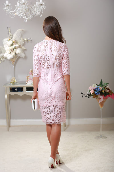 Lauren Baby Pink Lace Dress - LadyVB   s.r.o - 2
