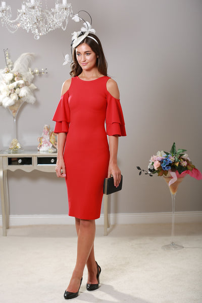 Lana Cold Shoulder Red Dress - LadyVB   s.r.o - 1