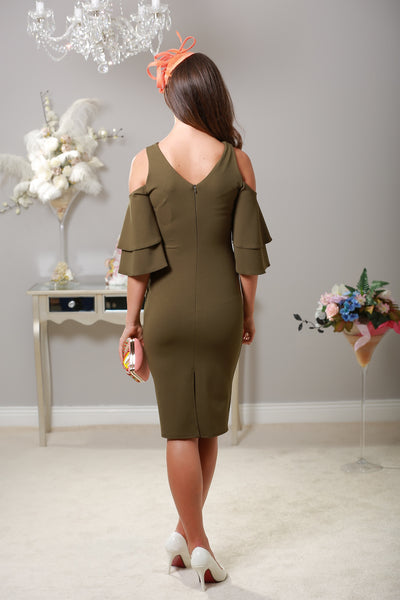 Lana Cold Shoulder Khaki Dress - LadyVB   s.r.o - 2