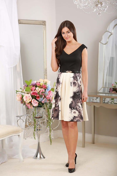 ROSE PRINT FIT AND FLARE DRESS - LadyVB   s.r.o - 2