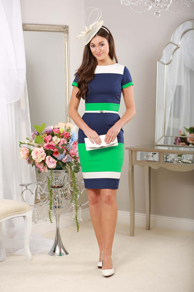 Green Navy and White Striped Dress - LadyVB   s.r.o - 1