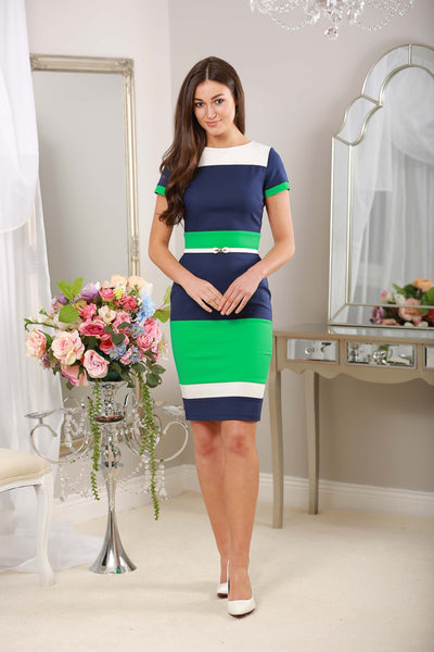 Green Navy and White Striped Dress - LadyVB   s.r.o - 2