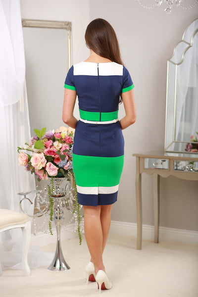 Green Navy and White Striped Dress - LadyVB   s.r.o - 3